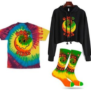 cheap trippy hippy costume that includes hoodie, socks and t-shirt